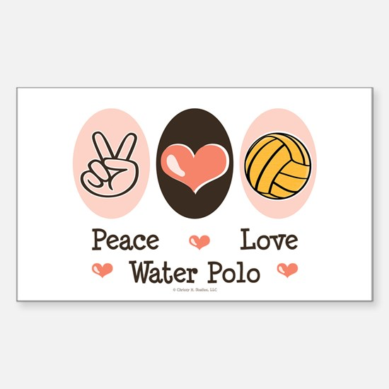 Peace Love Water Polo Sticker (Rectangle)