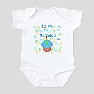 Cupcake First Birthday (Blue) Infant Creeper