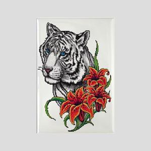 White Tiger Rectangle Magnet
