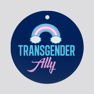 Transgender Ally Rainbow Round Ornament