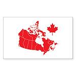 Canada Map Sticker (Rectangle 10 pk)