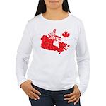 Canada Map Women's Long Sleeve T-Shirt