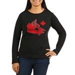 Canada Map Women's Long Sleeve Dark T-Shirt