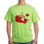 Canada Map Green T-Shirt