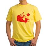 Canada Map Yellow T-Shirt