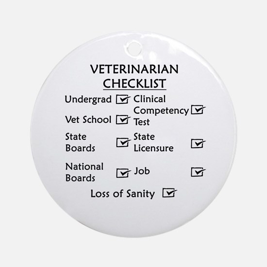 Veterinarian Checklist Ornament (Round)