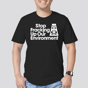 Stop Fracking Up Our E Men's Fitted T-Shirt (dark)