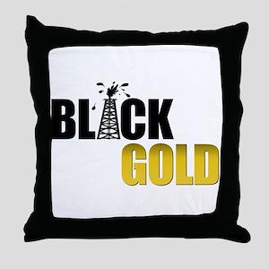 Black Gold Oil Throw Pillow