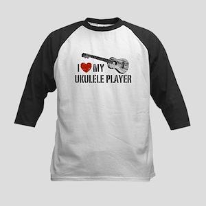I Love My Ukulele Player Kids Baseball Jersey