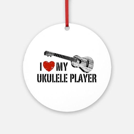 I Love My Ukulele Player Ornament (Round)