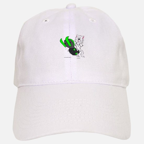 Snowmobile Cat in Color Green Hat