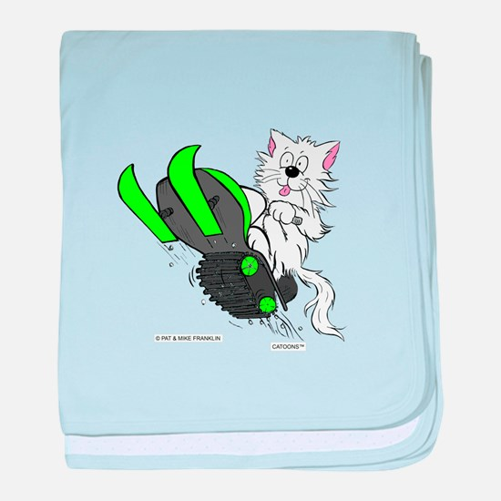 Snowmobile Cat in Color Green baby blanket