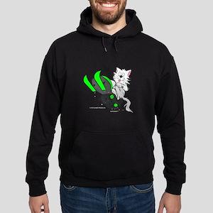 Snowmobile Cat in Color Green Hoodie (dark)