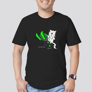 Snowmobile Cat in Color Green Men's Fitted T-Shirt