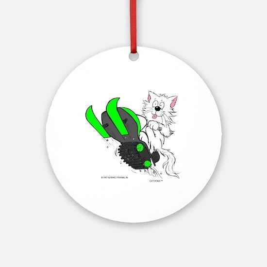 Snowmobile Cat in Color Green Ornament (Round)