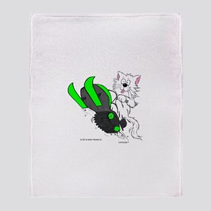 Snowmobile Cat in Color Green Throw Blanket