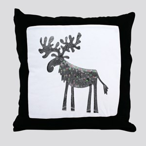 Silver Moose Throw Pillow