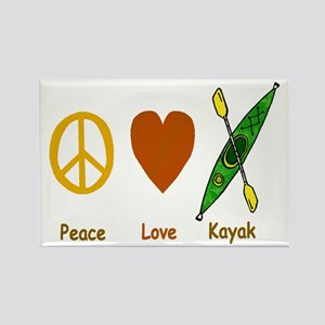 Peace,Luv,Kayak Rectangle Magnet