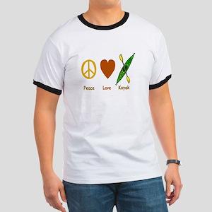 Peace,Luv,Kayak Ringer T
