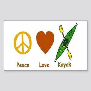 Peace,Luv,Kayak Sticker (Rectangle)