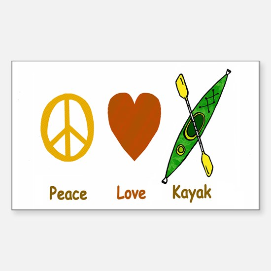 Peace,Luv,Kayak Sticker (Rectangle)
