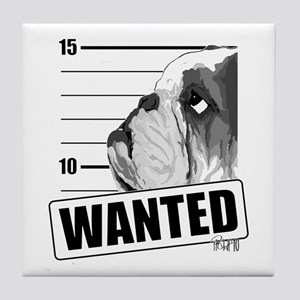 Black Bulldog Wanted Tile Coaster