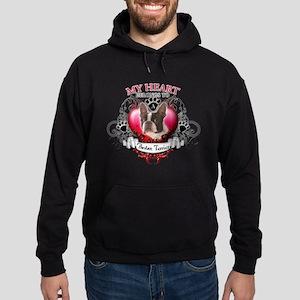 My Heart Belongs to a Boston Terrier Hoodie (dark)
