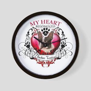 My Heart Belongs to a Boston Terrier Wall Clock