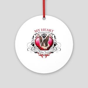 My Heart Belongs to a Boston Terrier Ornament (Rou