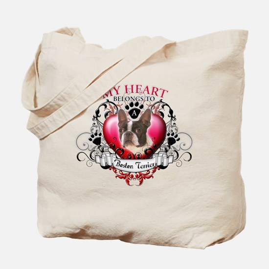 My Heart Belongs to a Boston Terrier Tote Bag