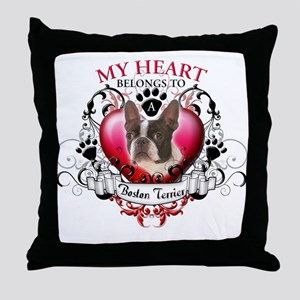 My Heart Belongs to a Boston Terrier Throw Pillow