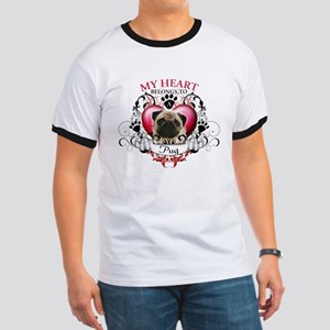 My Heart Belongs to a Pug Ringer T