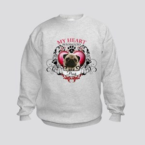 My Heart Belongs to a Pug Kids Sweatshirt