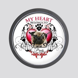 My Heart Belongs to a Pug Wall Clock