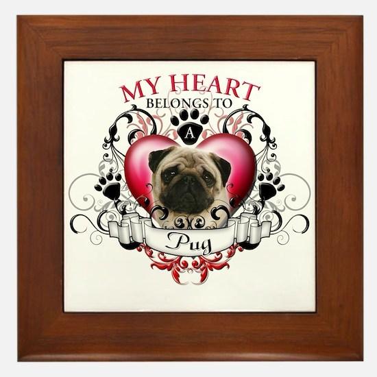 My Heart Belongs to a Pug Framed Tile