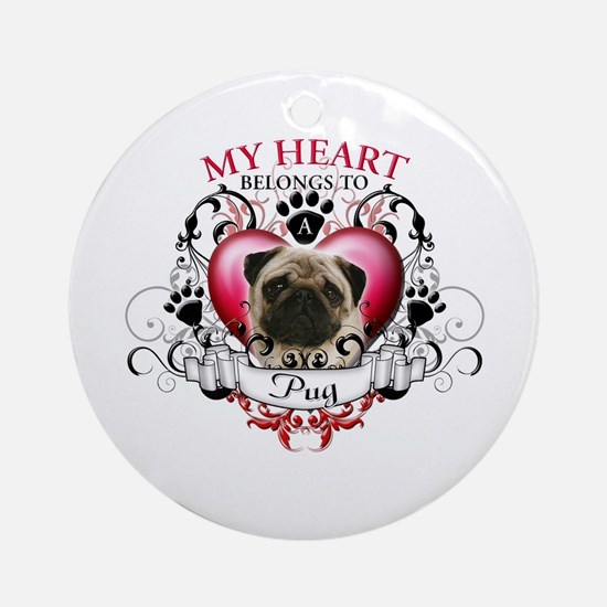 My Heart Belongs to a Pug Ornament (Round)