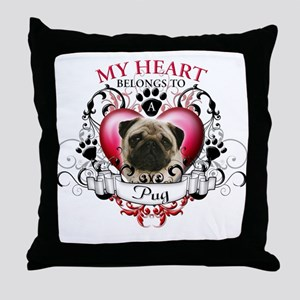 My Heart Belongs to a Pug Throw Pillow