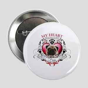 """My Heart Belongs to a Pug 2.25"""" Button"""