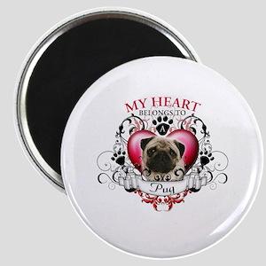 My Heart Belongs to a Pug Magnet