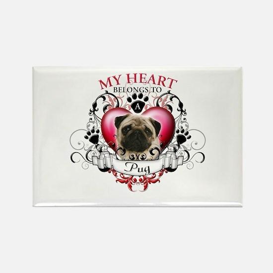 My Heart Belongs to a Pug Rectangle Magnet