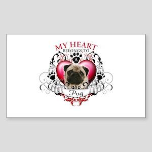 My Heart Belongs to a Pug Sticker (Rectangle)