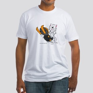 Snowmobile Cat Orange Fitted T-Shirt
