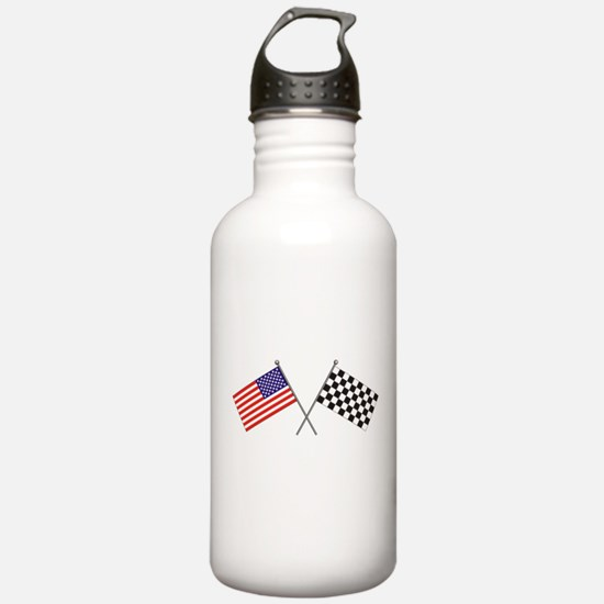 American-Checker Flag Water Bottle