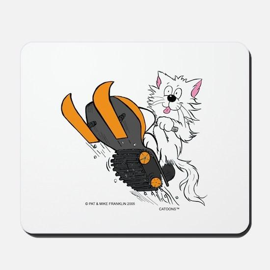 Snowmobile Cat Orange Mousepad