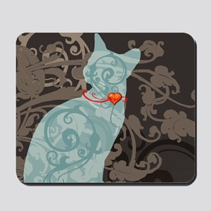 Gothic Blue Cat Mousepad