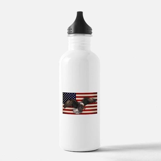 American Flag w/Eagle Sports Water Bottle