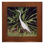 Backyard Egret - Framed Tile