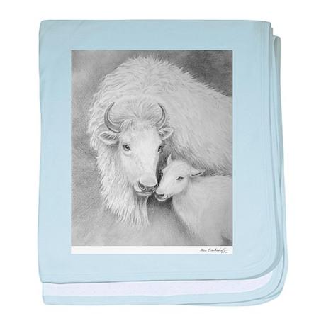 White Buffalo & Calf ~ baby blanket