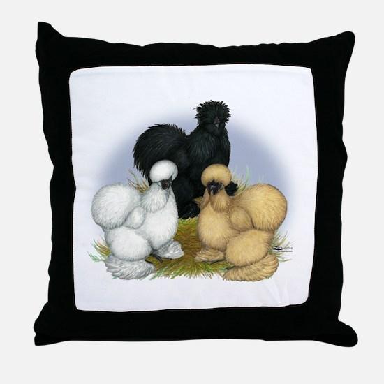 Silkie Chicken Trio Throw Pillow