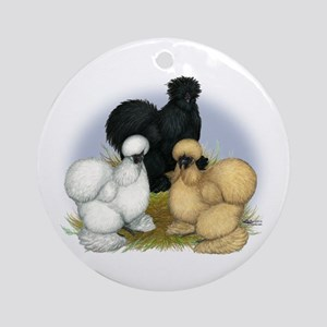 Silkie Chicken Trio Ornament (Round)
